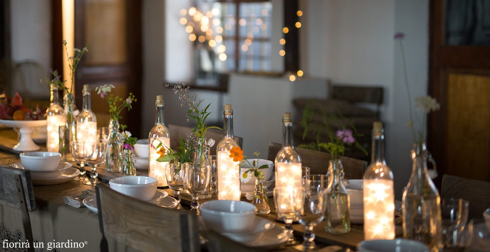 La tavola delle feste di fiorir un giardino shabby chic - Addobbi natalizi da giardino ...