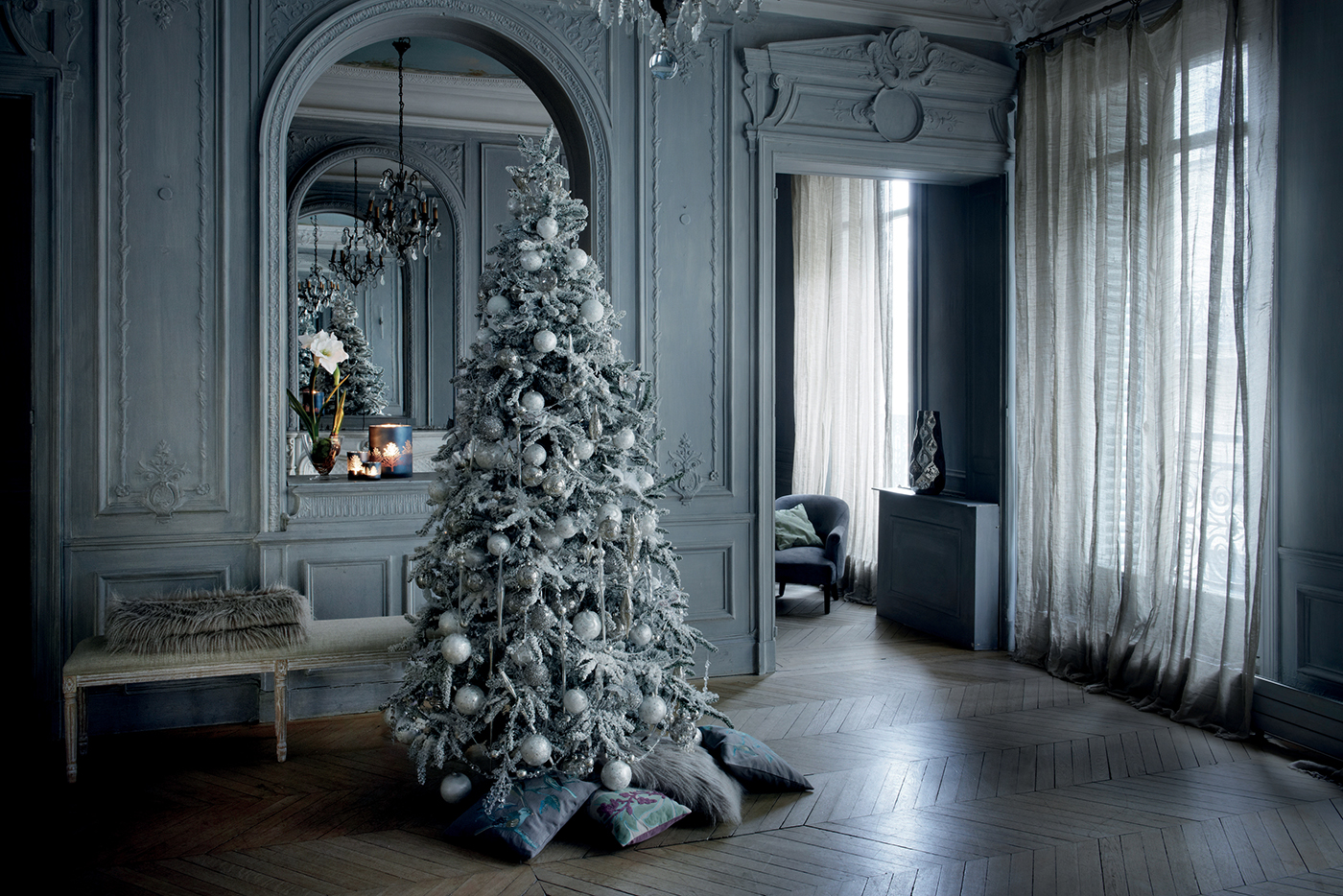 Un albero di natale bianco ghiaccio shabby chic mania by for Sia decoration noel