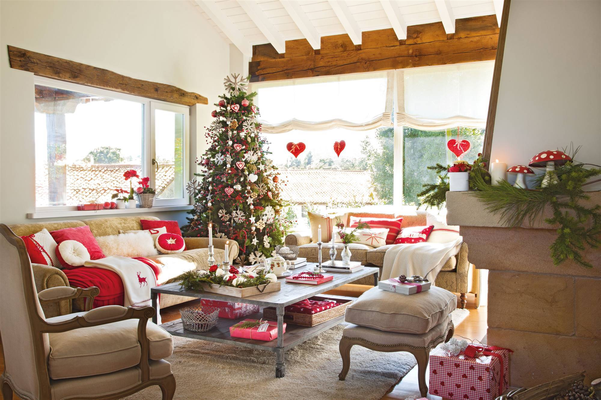 Natale Shabby Chic Rosso.Natale Country Chic In Bianco E Rosso Shabby Chic Mania By